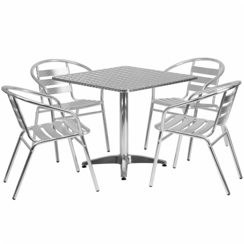 Flash Furniture 5 Piece Square Patio Dining Set in Aluminum Perspective: front
