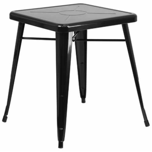 Flash Furniture CH-31330-29-BK-GG 24 in. Metal Indoor-Outdoor Table, Square - Black Perspective: front
