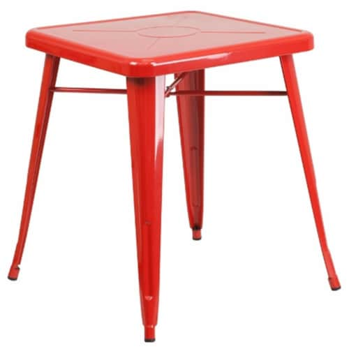 Flash Furniture CH-31330-29-RED-GG 24 in. Metal Indoor-Outdoor Table, Square - Red Perspective: front