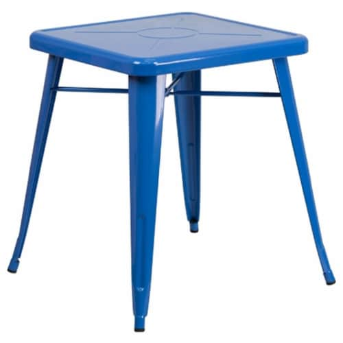 Flash Furniture CH-31330-29-BL-GG 24 in. Metal Indoor-Outdoor Table, Square - Blue Perspective: front