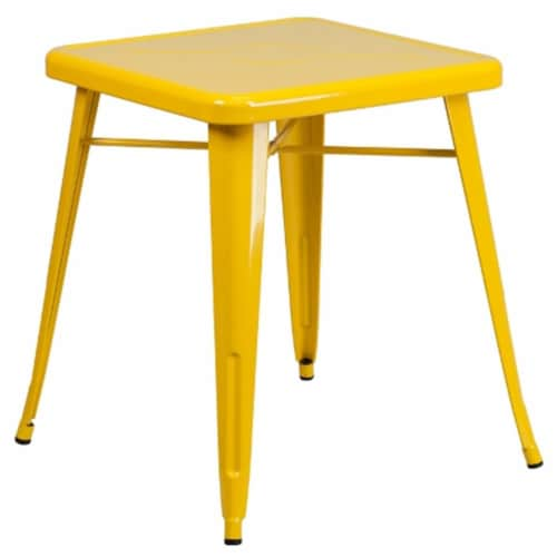 Flash Furniture CH-31330-29-YL-GG 24 in. Metal Indoor-Outdoor Table, Square - Yellow Perspective: front