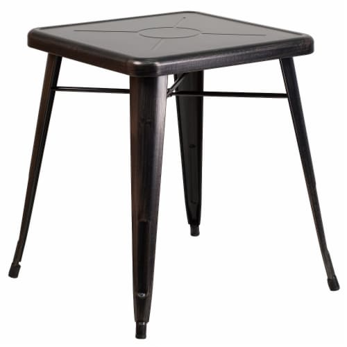 Flash Furniture CH-31330-29-BQ-GG 24 in. Metal Indoor-Outdoor Table, Square - Black, Antique Perspective: front