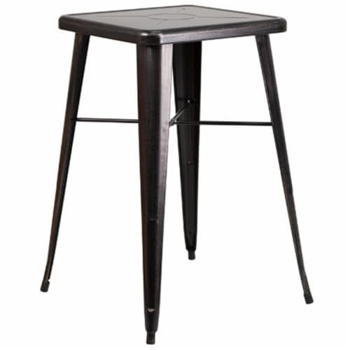 Flash Furniture CH-31330-BQ-GG 24 in. Metal Indoor-Outdoor Bar Height Table, Square - Black, Perspective: front