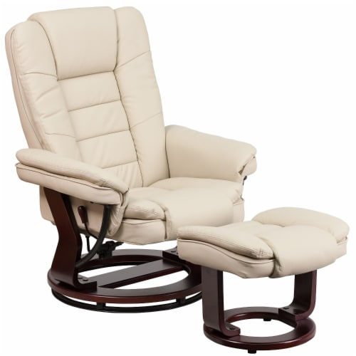 Flash Furniture Leather Recliner in Beige Perspective: front