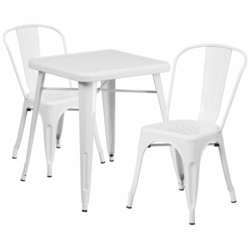 Flash Furniture CH-31330-2-30-WH-GG Metal Indoor-Outdoor Table Set With 2 Stack Chairs - Whit Perspective: front