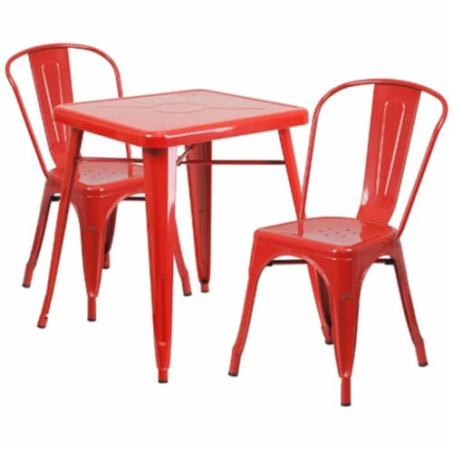 Flash Furniture CH-31330-2-30-RED-GG Metal Indoor-Outdoor Table Set With 2 Stack Chairs - Red Perspective: front