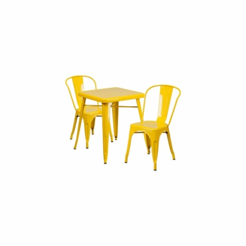 Flash Furniture CH-31330-2-30-YL-GG Metal Indoor-Outdoor Table Set With 2 Stack Chairs - Yell Perspective: front