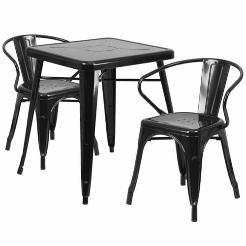 Flash Furniture CH-31330-2-70-BK-GG Metal Indoor-Outdoor Table Set With 2 Arm Chairs - Black Perspective: front