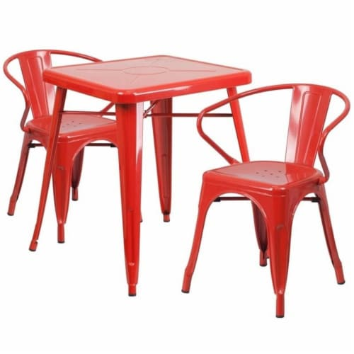 Flash Furniture CH-31330-2-70-RED-GG Metal Indoor-Outdoor Table Set With 2 Arm Chairs - Red Perspective: front