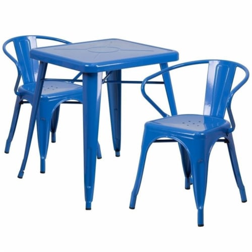 Flash Furniture CH-31330-2-70-BL-GG Metal Indoor-Outdoor Table Set With 2 Arm Chairs - Blue Perspective: front