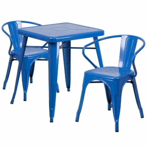 23.75'' Square Blue Metal Indoor-Outdoor Table Set with 2 Arm Chairs - CH-31330-2-70-BL-GG Perspective: front