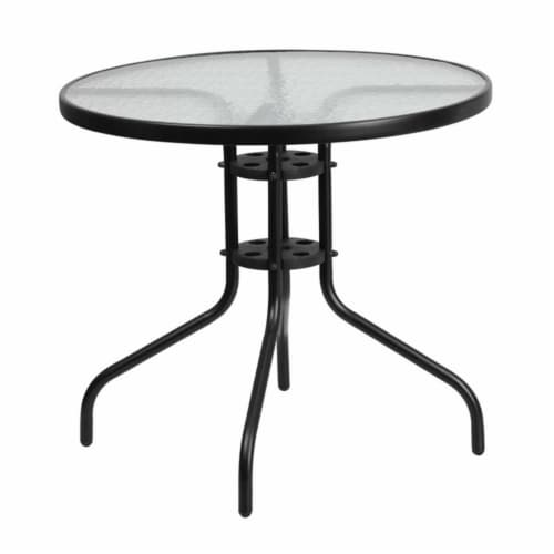 Flash Furniture 31.5  Round Glass Top Patio Dining Table in Black Perspective: front