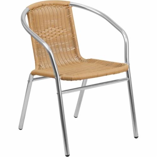Commercial Aluminum and Beige Rattan Indoor-Outdoor Restaurant Stack Chair Perspective: front