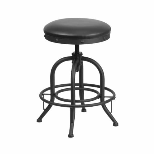 Flash Furniture 24  Swivel Lift Leather Seat Counter Stool in Black Perspective: front