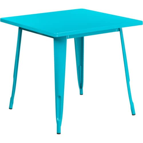 Flash Furniture 31.5  Square Metal Dining Table in Crystal Blue Perspective: front