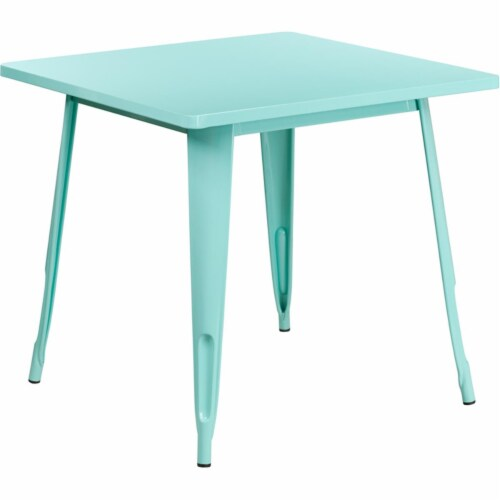 """Commercial Grade 31.5"""" Square Mint Green Metal Indoor-Outdoor Table Perspective: front"""