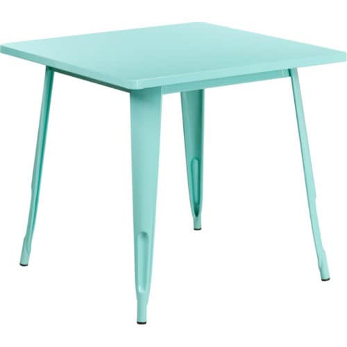 Flash Furniture ET-CT002-1-MINT-GG 31.5 in. Square Mint Green Metal Indoor & Outdoor Table Perspective: front