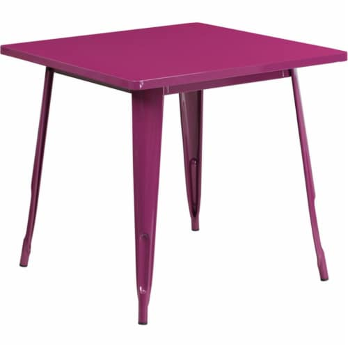 Flash Furniture ET-CT002-1-PUR-GG 31.5 in. Square Purple Metal Indoor & Outdoor Table Perspective: front
