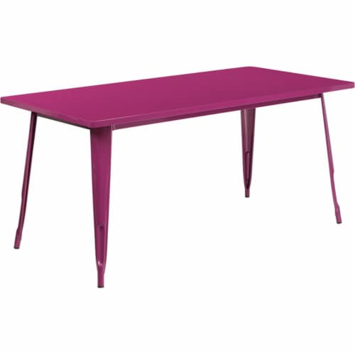 Flash Furniture ET-CT005-PUR-GG 31.5 x 63 in. Rectangular Purple Metal Indoor & Outdoor Table Perspective: front