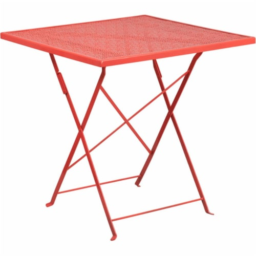 Flash Furniture CO-1-RED-GG 28 in. Square Coral Indoor & Outdoor Steel Folding Patio Table Perspective: front