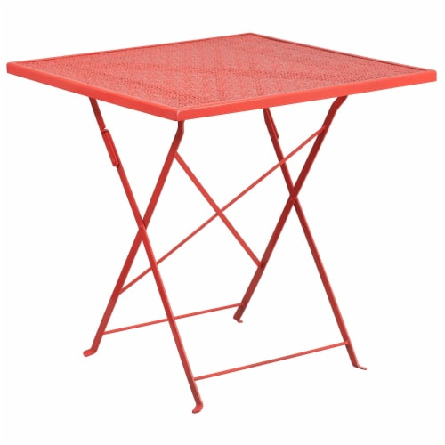 """Commercial Grade 28"""" Square Coral Indoor-Outdoor Steel Folding Patio Table Perspective: front"""