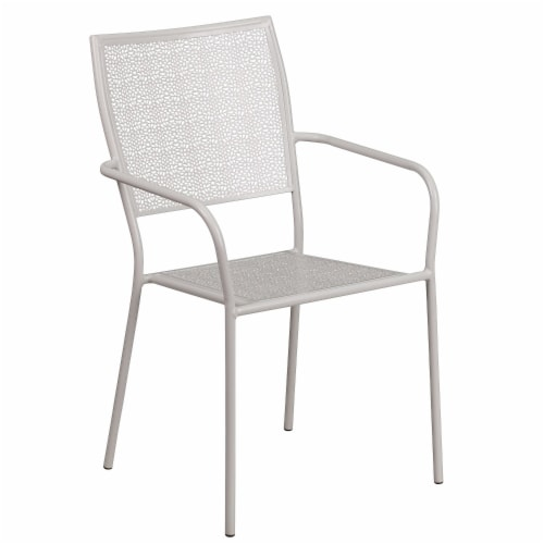 Flash Furniture CO-2-SIL-GG Light Gray Indoor & Outdoor Steel Patio Arm Chair with Square Bac Perspective: front