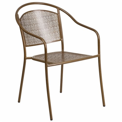 Commercial Grade Gold Indoor-Outdoor Steel Patio Arm Chair with Round Back Perspective: front
