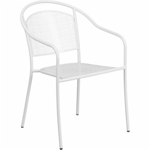 Flash Furniture CO-3-WH-GG White Indoor & Outdoor Steel Patio Arm Chair with Round Back Perspective: front
