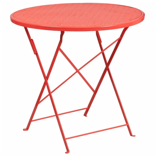 Flash Furniture CO-4-RED-GG 30 in. Round Coral Indoor & Outdoor Steel Folding Patio Table Perspective: front