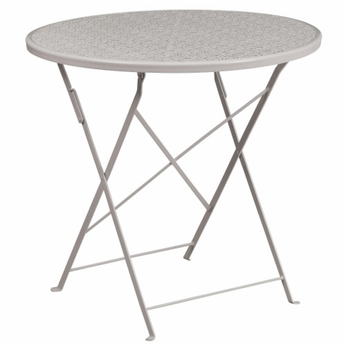 Flash Furniture CO-4-SIL-GG 30 in. Round Light Gray Indoor & Outdoor Steel Folding Patio Tabl Perspective: front