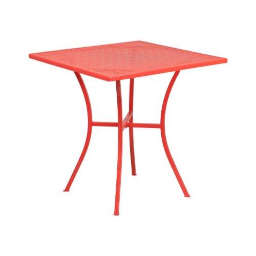 Flash Furniture CO-5-RED-GG 28 in. Square Coral Indoor & Outdoor Steel Patio Table Perspective: front