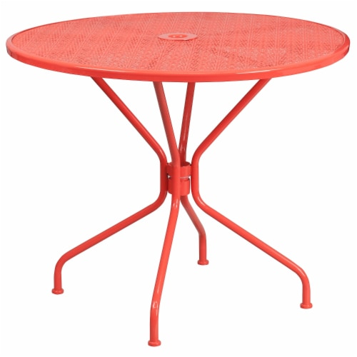 Flash Furniture CO-7-RED-GG 35.25 in. Round Coral Indoor & Outdoor Steel Patio Table Perspective: front