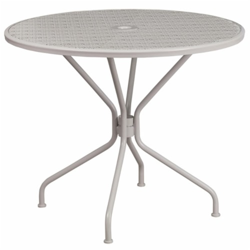 Flash Furniture 35.25  Round Steel Flower Print Patio Dining Table in Silver Perspective: front