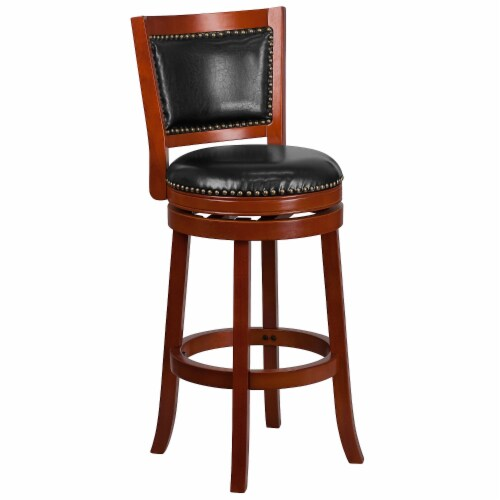 30'' High Light Cherry Wood Barstool with Black Leather Swivel Seat Perspective: front