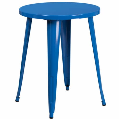 Flash Furniture 24  Round Metal Dining Table in Blue Perspective: front