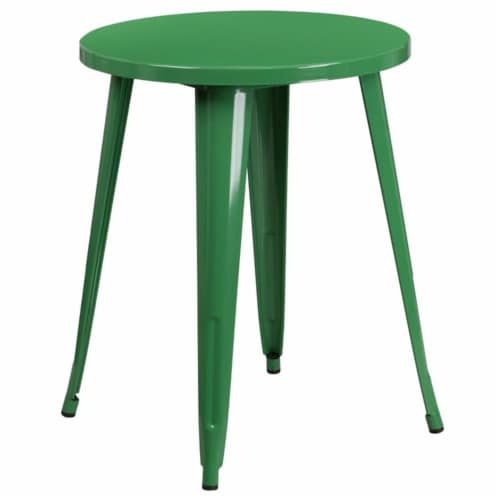 Flash Furniture 24  Round Metal Dining Table in Green Perspective: front