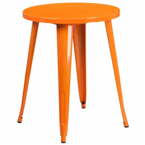 Flash Furniture 24  Round Metal Dining Table in Orange Perspective: front