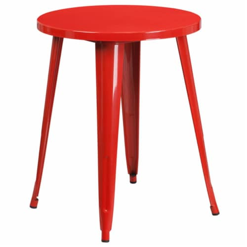 Flash Furniture 24  Round Metal Dining Table in Red Perspective: front