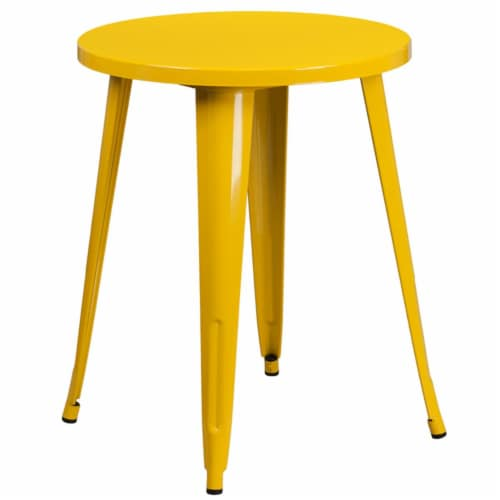 Flash Furniture 24  Round Metal Dining Table in Yellow Perspective: front