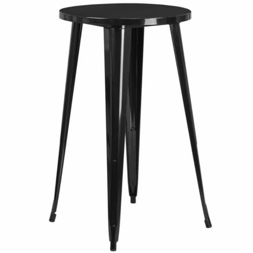 Flash Furniture CH-51080-40-BK-GG 24 in. Round Black Metal Indoor & Outdoor Bar Height Table Perspective: front