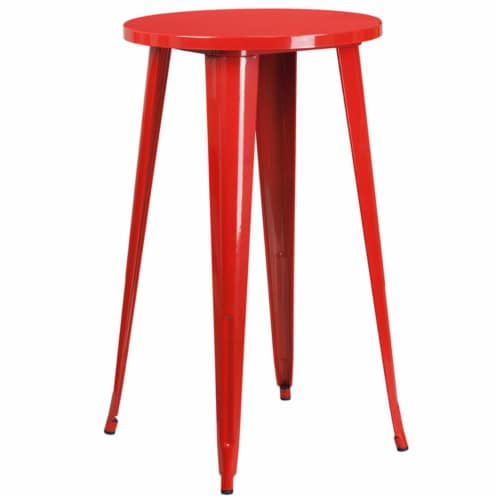 Flash Furniture CH-51080-40-RED-GG 24 in. Round Red Metal Indoor & Outdoor Bar Height Table Perspective: front