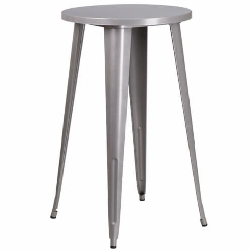 Flash Furniture CH-51080-40-SIL-GG 24 in. Round Silver Metal Indoor & Outdoor Bar Height Tabl Perspective: front