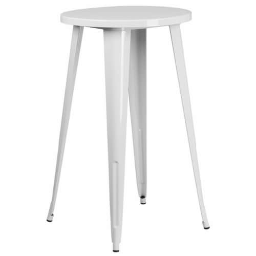 Flash Furniture CH-51080-40-WH-GG 24 in. Round White Metal Indoor & Outdoor Bar Height Table Perspective: front