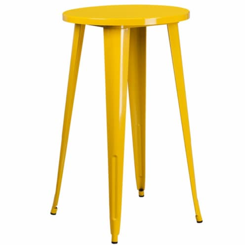 Flash Furniture CH-51080-40-YL-GG 24 in. Round Yellow Metal Indoor & Outdoor Bar Height Table Perspective: front