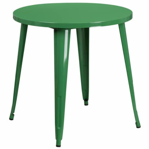 Flash Furniture CH-51090-29-GN-GG 30 in. Round Green Metal Indoor & Outdoor Table Perspective: front