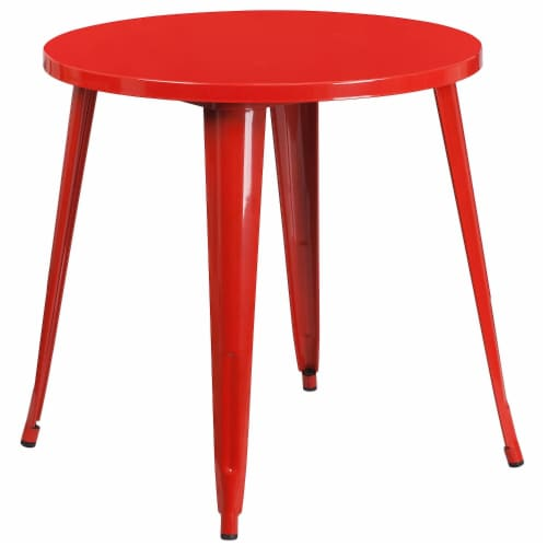 Flash Furniture CH-51090-29-RED-GG 30 in. Round Red Metal Indoor & Outdoor Table Perspective: front