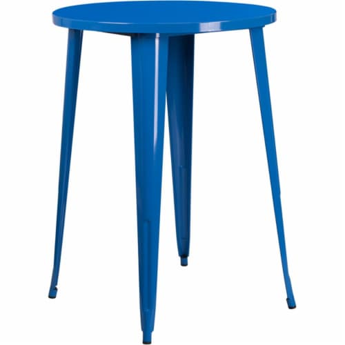 Flash Furniture CH-51090-40-BL-GG 30 in. Round Blue Metal Indoor & Outdoor Bar Height Table Perspective: front