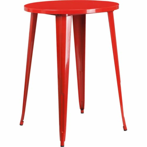Flash Furniture CH-51090-40-RED-GG 30 in. Round Red Metal Indoor & Outdoor Bar Height Table Perspective: front
