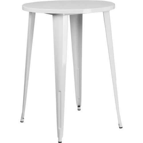 Flash Furniture CH-51090-40-WH-GG 30 in. Round White Metal Indoor & Outdoor Bar Height Table Perspective: front