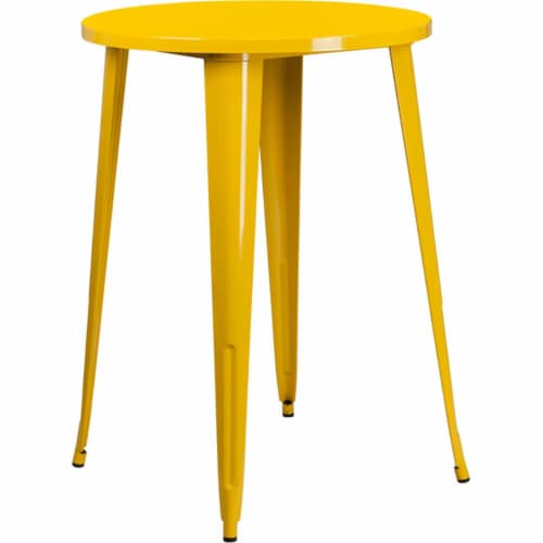 Flash Furniture CH-51090-40-YL-GG 30 in. Round Yellow Metal Indoor & Outdoor Bar Height Table Perspective: front